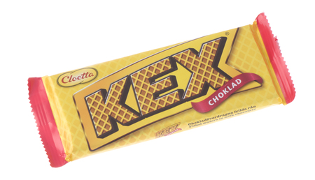 Stockholm, Sweden - February 14, 2015: One pack of Cloetta Kexchoklad 100 grams, filled wafers in milk chocolate for the Swedish market isolated on white background