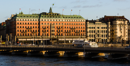 STOCKHOLM, SWEDEN - December 21, 2015: Grand Hotel in Stockholm is a luxury hotel at Stockholm waterfront,  a five-star hotel in Stockholm. Since 1901. The Nobel Prize laureates and their families have traditionally been guests at the hotel