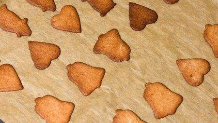 Christmas baking, ready-baked gingerbread on a baking tray Stock Photo - 69693160