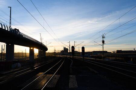 Railroad Tracks curve at Twilight in Stockholm, Sweden