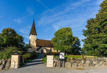 Salem, Sweden - September 11, 2016: Church of Salem, the sun shines on an autumn day