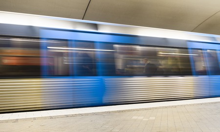Blurred view of a train at a subway station, Stockholm, Sweden 스톡 콘텐츠