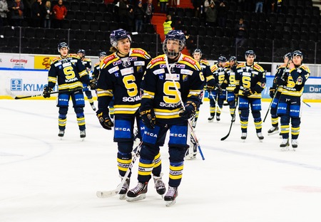 Sodertalje, Sweden - January 15, 2017:  Happy SSK players after they won the Ice hockey match with 3-2 in hockeyallsvenskan between SSK and MODO in the sports complex Scaniarinken 에디토리얼
