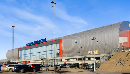 Sodertalje, Sweden - January 15, 2017: Sports complex Scaniarinken, home arena for SSK in hockeyallsvenskan, today match between SSK and MODO Stock Photo - 72818592