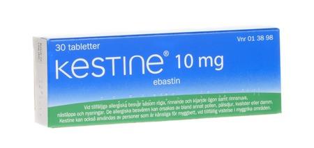 Stockholm, Sweden, April 3, 2017 Kestine 10 mg ebastin, anti-allergic medicament, isolated on white background