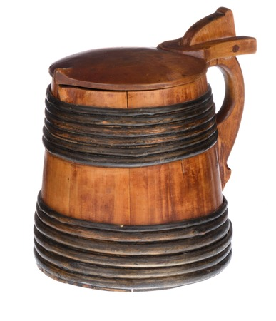 Wooden tankard with lid isolated on white background