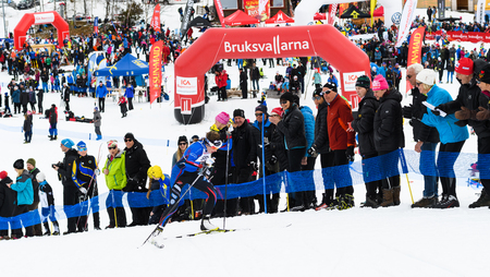 Bruksvallarna, Sweden - April 8th, 2017: Winners Ebba Andersson, Solleftea Skiing IF, at the finish in the ski race Fjalltoppsloppet (mountain top race) 35 km in Bruksvallarna Stock Photo - 76378880