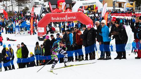 Bruksvallarna, Sweden - April 8, 2017: Second place Anna Haag, Anna & Emil sports club, at the finish in the ski race Fjalltoppsloppet mountain top race 35 km in Bruksvallarna