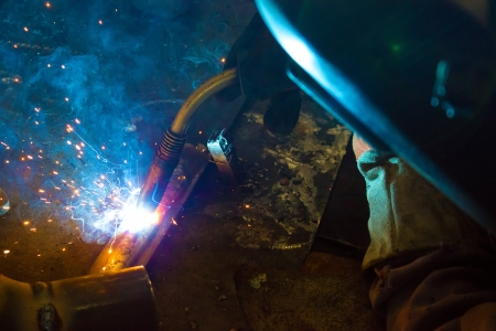 Welder weld metal,photography photo