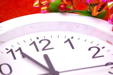 counterclockwise: Clock shows a couple of minutes until the start of the New Year, Happy New Year, photography Stock Photo