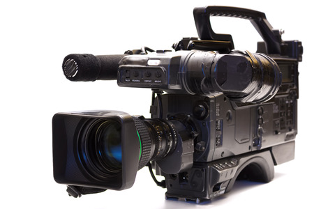 Professional tv camera , Professional tv camera isolated on white