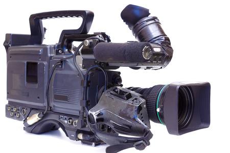 Videocámara Profesional lente de la cámara de tv aislados en blanco