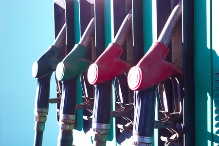 refills: Gas Station nozzles ; Automate for refills fuel along with nozzles,photography
