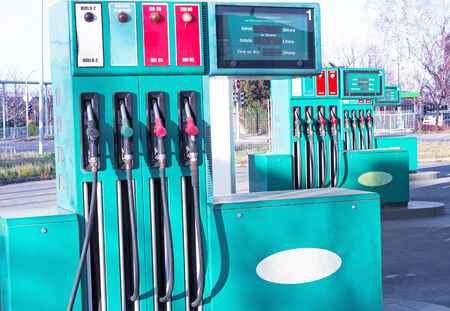 refills: Petrol station ; Automate for refills fuel along with nozzles,photography