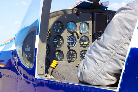 altimeter: Cockpit Control ; Instrument panel of small airplane,photography
