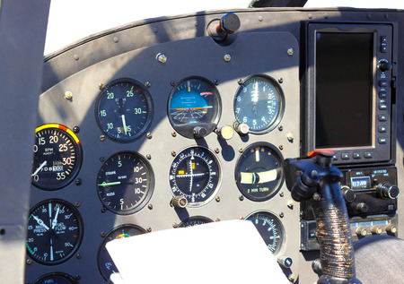 Cockpit ; Instrument panel of small airplane,photography