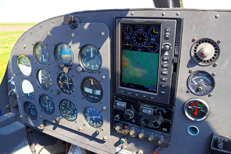 Aircraft Instruments ; Instrument panel of small airplane,photography