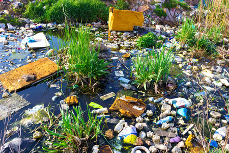 lack of water: River that is polluted with various garbage and trash, Polluted rivers, photography
