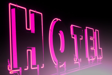 illuminated: Advertising for the hotel in the night ; Illuminated advertising for the hotel with light effects