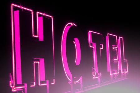 Publicité pour l'hôtel dans la nuit; Enseignes lumineuses pour l'hôtel avec des effets de lumière Banque d'images