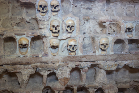 retaliation: Tower of human skulls ; Nisch,Serbia,07.09.2015.Monument from the First Serbian Uprising 1809. which was in retaliation by the Turkish authorities in Serbia built from the skulls of dead Serbian warriors