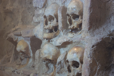 prowess: Unique tower of human skulls ; Nisch,Serbia,07.09.2015.Monument from the First Serbian Uprising 1809. which was in retaliation by the Turkish authorities in Serbia built from the skulls of dead Serbian warriors Editorial