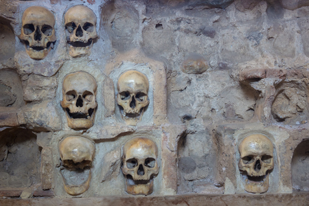 prowess: Wall with human skulls ; Nisch,Serbia,07.09.2015.Monument from the First Serbian Uprising 1809. which was in retaliation by the Turkish authorities in Serbia built from the skulls of dead Serbian warriors Editorial