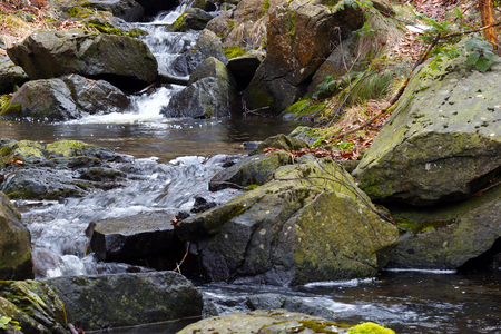 purl: River in untouched nature ; Beautiful waterfall from mountain rivers overflowed cast down the rocky scenery Stock Photo