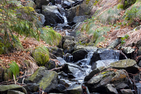 river rocks: River rocks and forest ; Beautiful waterfall from mountain rivers overflowed cast down the rocky scenery Stock Photo