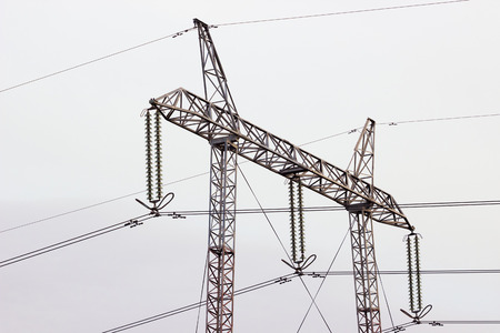 steel tower: High Voltage Tower ; Steel Tower of power line Stock Photo