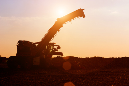 Agricultural machinery in the sunset ; Agricultural machines for loading sugar beets in a field at sunset Banque d'images