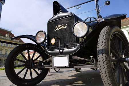 Zrenjanin ;Serbia ; 07.09.2016.Ford Model T from 1921 on exhibition of old cars ;  Ford Model T from 1921 parked in the town square