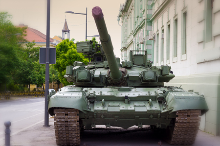 Zrenjanin ; Serbia ; 09.05.2016. Front view of a Military tank