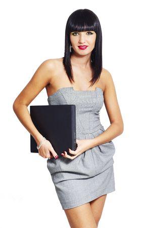 elegante vrouw met laptop Stockfoto