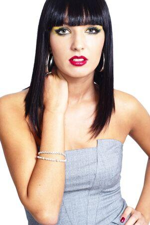 elegante brunette vrouw - close-up  Stockfoto