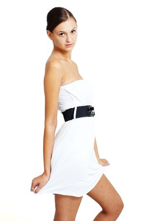 natural girl posing in a white dress photo