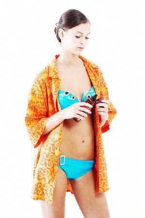 mooi meisje voorbereiden om een douche te nemen  Stockfoto