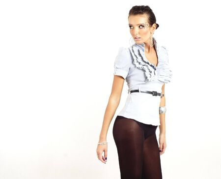 fashion girl looking back photo