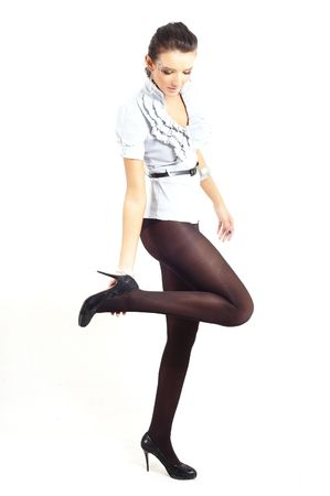 nice fashion girl posing in a studio