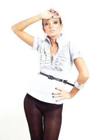 nice fashion girl posing in a studio photo