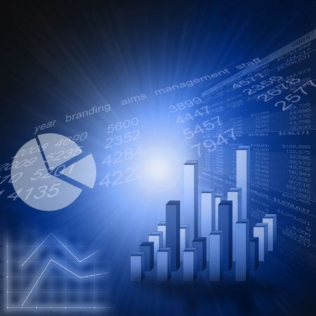 financial goals: Business graph or marketing stats picture - blue  Stock Photo