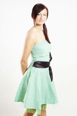 straight girl wearing a retro dress photo
