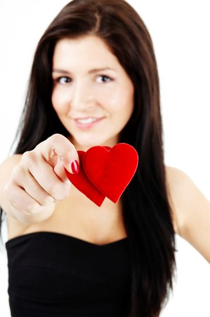 pretty woman holding a double heart photo