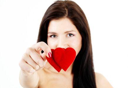mooie vrouw met een dubbele hart  Stockfoto