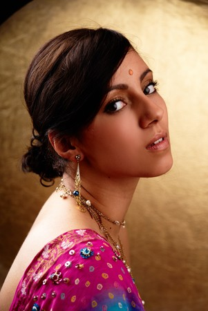 saree: Beautiful indian brunette woman portrait with traditional costume  Stock Photo