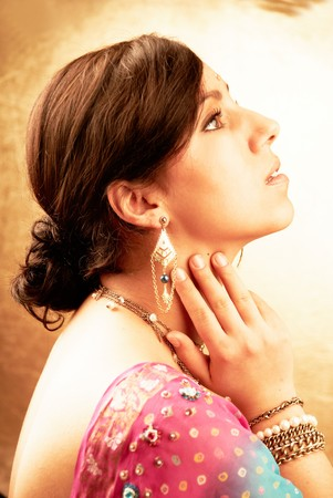 costume jewelry: Beautiful indian brunette woman portrait with traditional costume  Stock Photo