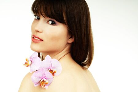 woman with an orchid photo