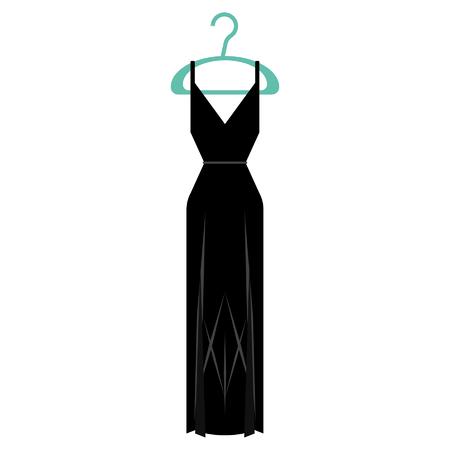 black formal dress on a clothing hanger