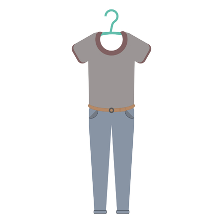 t-shirt and jeans on a clothing hanger