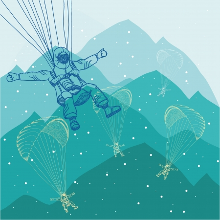 vector illustration of sportsmen paragliding in mountains